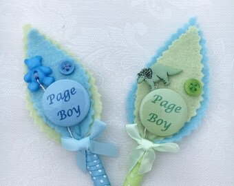 Page Boy Felt  Button Pastel Buttonhole. Personalised. Ring Bearer.