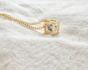 Zircon hollow out necklace with gold filled chain