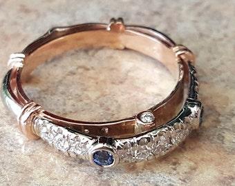 14K two-tone Ceylon Sapphire/Diamond engagement ring