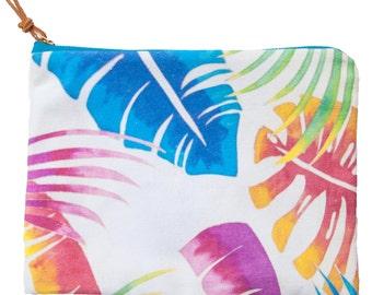 Canvas clutch, canvas bag, canvas purse. Tropical print