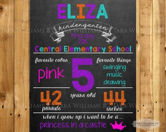 SALE - First Day Of School Personalized Chalkboard Sign - Back To School