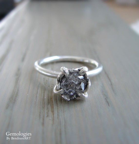 Raw Herkimer Diamond Engagement Ring Organic Natural Stone