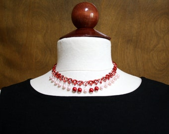 Red Cherries Beaded Chainmaille Necklace