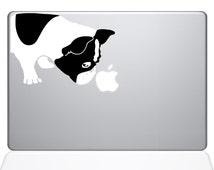 Black and White Bulldog Macbook Decal (2042-MAC)
