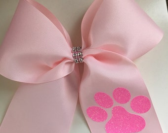 Pink Cheer Bow- Paw print Pink Cheer bow- Sideline Pink Cheer Bow-Glitter paw print cheer bow