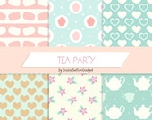Digital paper, tea paper, shabby chic paper, flowers paper, macarons paper, muffin paper, hearts paper, mint paper, polkadots paper, cups