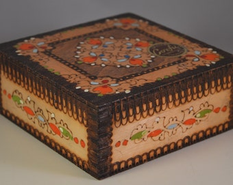 Vintage colored wooden jewelry box,