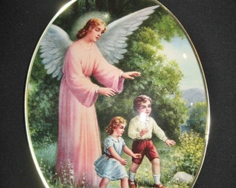 Vintage-Religious Pious Image-Angel and children-French Antique