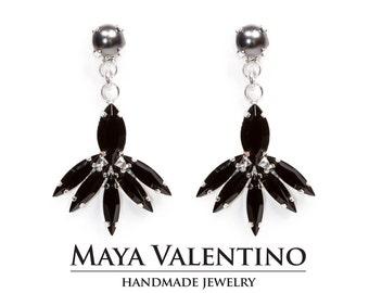 Silver Earring, Black earring, Prom earrings, Gift for Women, Gift for her, Elegant earring, Crystal earring, estate earrings, Gift for her.