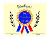 Best Teacher Ever Certificate Award 8 x 10 PDF Instant Download