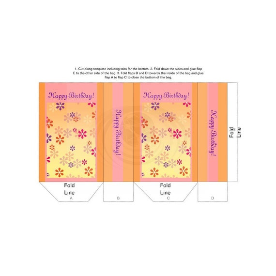 Floral Gift Bag Happy Birthday Printable DIY Template PDF Instant Download From CyberNation On