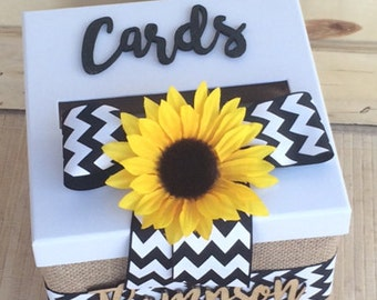 wedding card box,  burlap and lace card holder, sunflower card box, sunflower card holder, burlap card box, chevron sunflower card holder