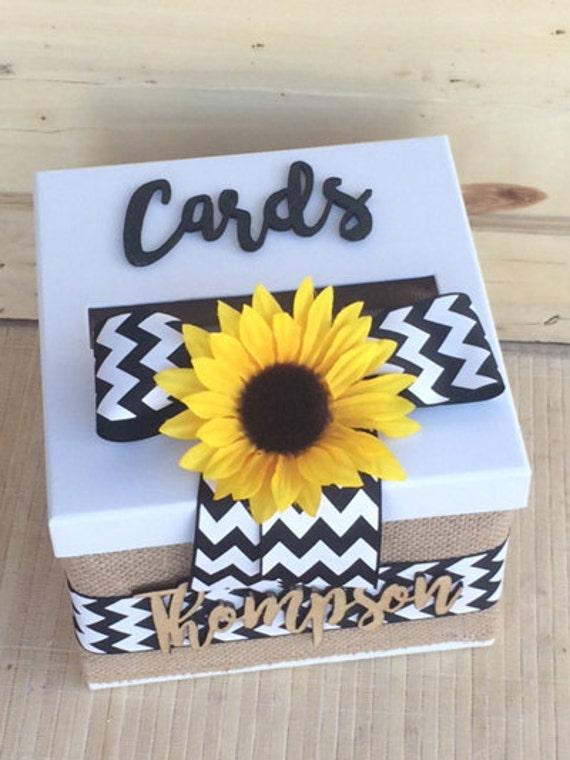 wedding card box,  burlap and lace card holder, sunflower card box, sunflower card holder, burlap card box, chevron sunflower card holder