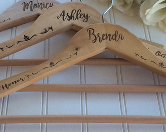 Wedding hanger, bride hanger, bridal hanger, wedding dress hanger, personalized hanger, bridesmaid hanger, bride dress hanger, wooden hanger
