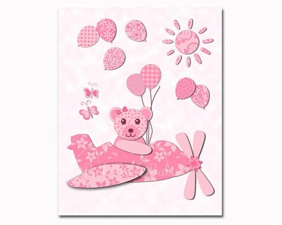 airplane nursery wall decor baby girl aviator wall art plane. Black Bedroom Furniture Sets. Home Design Ideas
