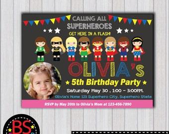 SUPERHERO Girl Invitation, Superhero Girl Birthday Party invitation, Girl Superhero invite, Super girl invitation