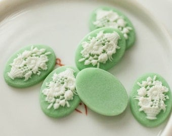 Lot of 6 Mint Green Flower Cameo Acrylic Plastic Cabochon Vintage Jewelry Supply