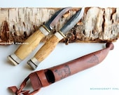 85mm+80mm Handmade Scandinavian Hunting Gutting Knife Combo - Carbon Steel - Scandicraft Finland