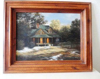 Original oil painting of country farm house framed in hand made wood frame.