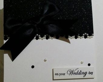 Elegant Black Glitter Wedding Card