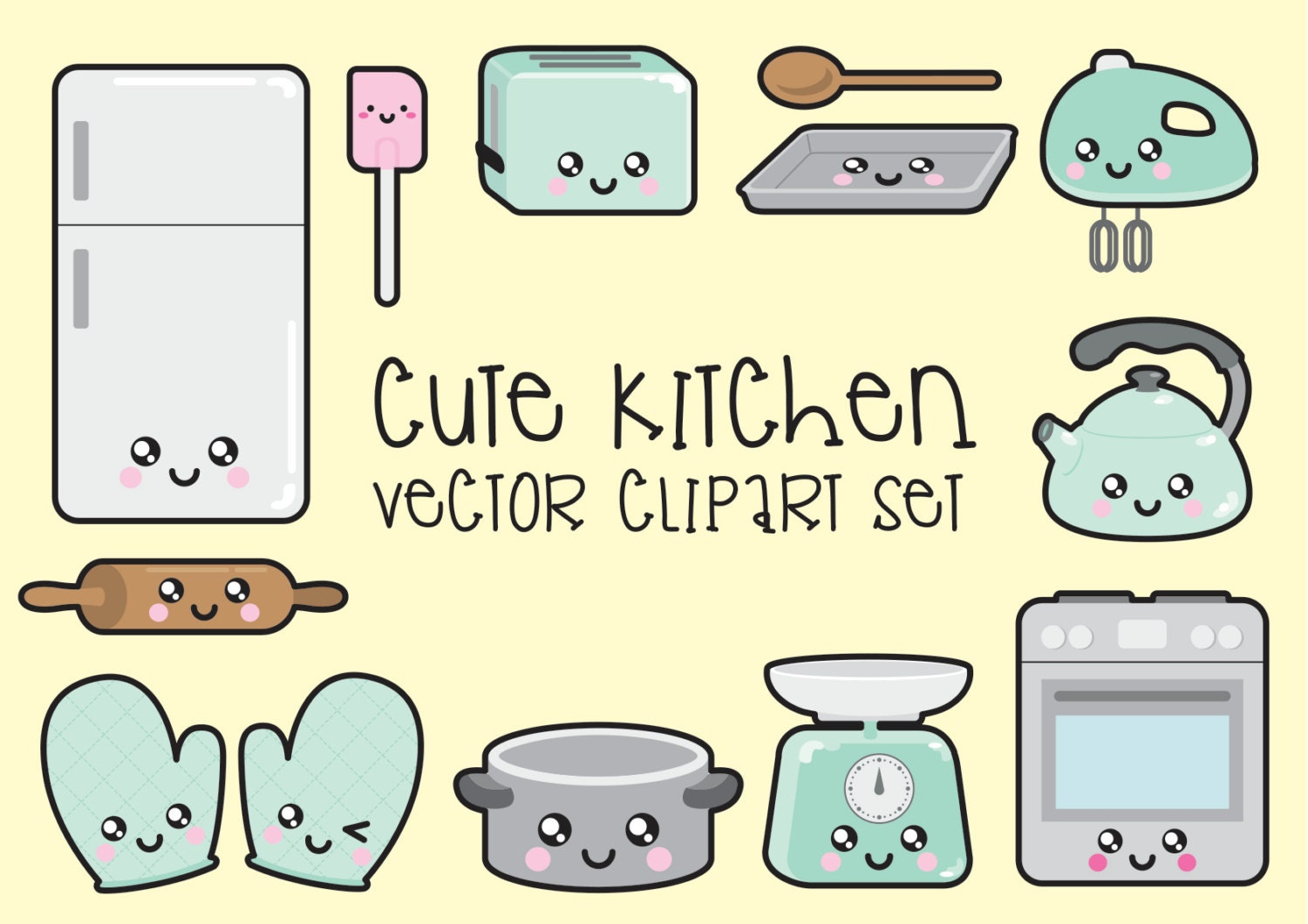 Premium vector clipart kawaii kitchen clipart kawaii for Art and cuisine cookware review