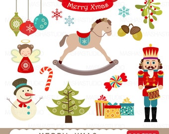 "Christmas clipart: ""MERRY XMAS CLIPART"" with nutcracker clipart, rocking horse clipart, christmas ornaments for invitations, scrapbooking"