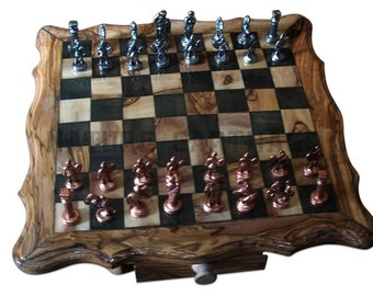 christmas gift chriqtmas present olive wood square chess board set inch metal