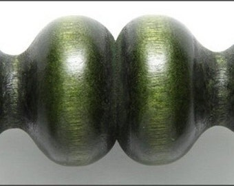 Large Double-Vase Green Wood Beads