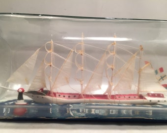 4 masted hand painted ship in a bottle