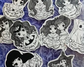 Sailor Moon feminist sticker set