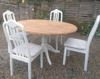 Shabby chic Pine Oval table & chairs