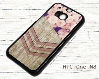 HTC ONE M8 Case - Geometric Wood texture with Flowers
