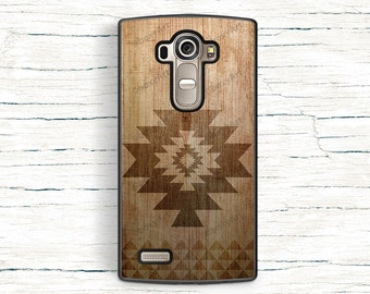 LG G3 G4 Case Geometric Tribal Triangles Ornament on Wood Texture