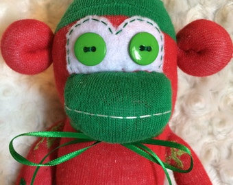50% OFF-Sock Monkey-Snowflake-Christmas-Handmade-Plush-Red, White, Green-Plush-Snowflakes