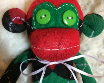 50% OFF-Sock Monkey-Argyle-Christmas-Handmade-Red, Green, and Black-Plush-Monkey  *one of a kind*