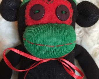 50% OFF-Sock Monkey-Argyle-Christmas-Handmade-Black, Red, and Green-Plush-Monkey  *one of a kind*