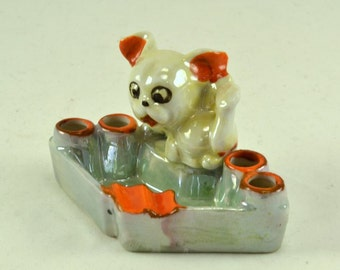 Lustreware Cigarette Holder Ashtray - Puppy - Vintage -Made in Japan Pre WWII
