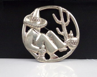 Vintage Taxco Mexican Sterling Silver 925 Pin Brooch Mexico Figural