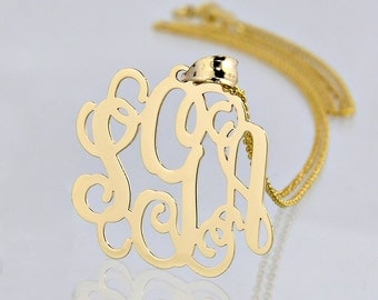 10K Solid Gold 3 Initials Monogram Pendant Necklace 1 Inch Personalized Jewelry GM31