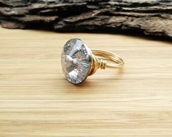 Swarovski Crystal Ring- Swarovski Ring-Swarovski Jewelry- Crystal Ring-Silver Swarovski Crystal Ring-Gold Swarovski Crystal Ring-Engagement