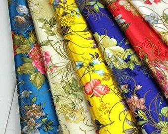 Chinese brocade fabric, Brocade with peony,Jacquard fabric,Chinese cheongsam fabric, Cosplay DIY fabric,Kimono fabric,7 colors,1y/pc