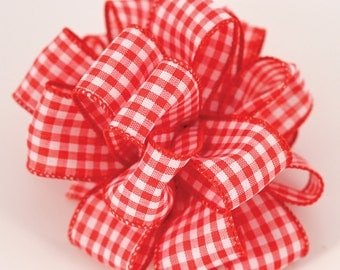 "NEW 1-1/2"" Wired Gingham Ribbon, 2 yards Red Gingham Ribbon, Cottage Chic Ribbon"