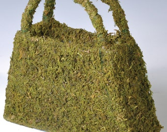 "New Slant Sided Moss Purse 8""x3""x8"", Moss Purse for Decorating, Moss Purse for Brides Maids."