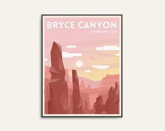 Retro travel print, national park print, travel wall art, Bryce Canyon print, retro national park, wilderness art, camping art, travel gift