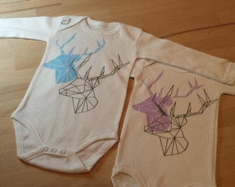 Body long sleeve in white flocked cotton geometric deer.