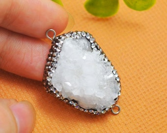 Pretty! 2Pcs Natural White Drusy Quartz Stone & Rhinestone Connector Beads Jewelry Finding