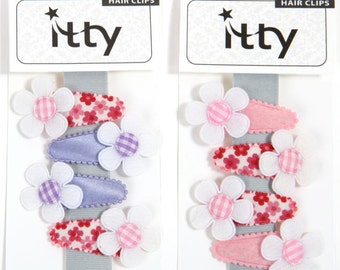 Handmade set of 4 fabric baby hair clips, toddler hair clips, girls hair clips with flowers - YOU PICK SET.
