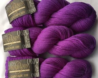CASCADE YARNS 220 / Purple Hyacinth 7808 DyeLot # 6181 / Peruvian Highland Wool