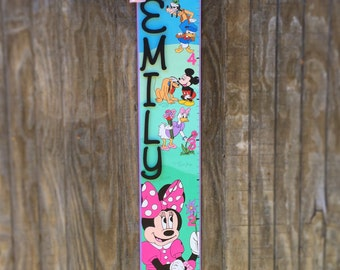 Handpainted Wood Growth Chart, Children's Grow Chart, Minnie Mouse Inspired Mural Grow Chart