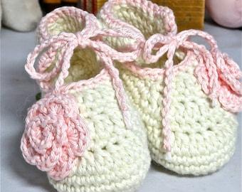 Rosebud, Ankle Tie Crochet Baby Shoes